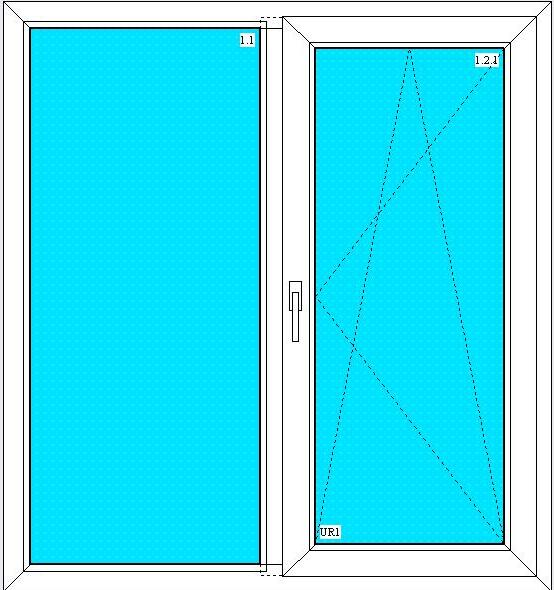 стандартное окно двухстворчатое